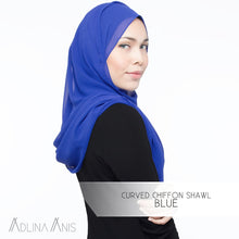 Load image into Gallery viewer, Curved Chiffon Shawl - Blue - Premium Chiffon - Adlina Anis - Third Culture Boutique