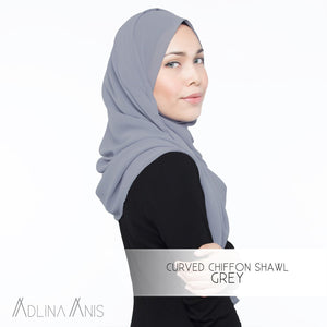 Curved Chiffon Shawl - Grey - Premium Chiffon - Adlina Anis - Third Culture Boutique