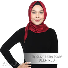Load image into Gallery viewer, Tri Silky Satin Scarf - Deep Red - Tri scarves - Adlina Anis - Third Culture Boutique