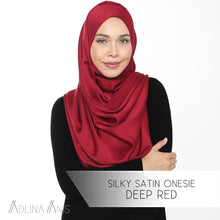 Load image into Gallery viewer, Silky Satin Onesie - Deep Red - Instant Hijabs - Adlina Anis - Third Culture Boutique