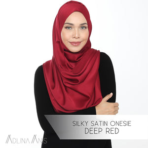 Silky Satin Onesie - Deep Red - Instant Hijabs - Adlina Anis - Third Culture Boutique