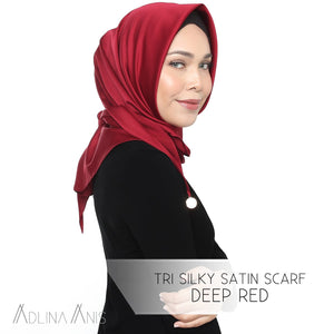 Tri Silky Satin Scarf - Deep Red - Tri scarves - Adlina Anis - Third Culture Boutique