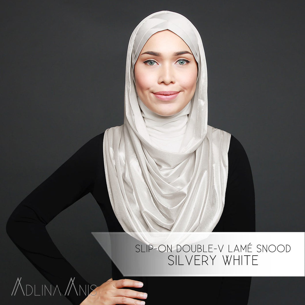 Slip-on Double-V Lamé Snood - Silvery White - Third Culture Boutique