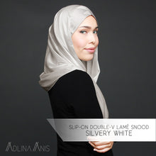 Load image into Gallery viewer, Slip-on Double-V Lamé Snood - Silvery White - Third Culture Boutique