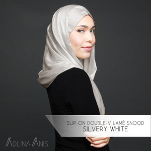 Slip-on Double-V Lamé Snood - Silvery White - Instant Hijabs - Adlina Anis - Third Culture Boutique