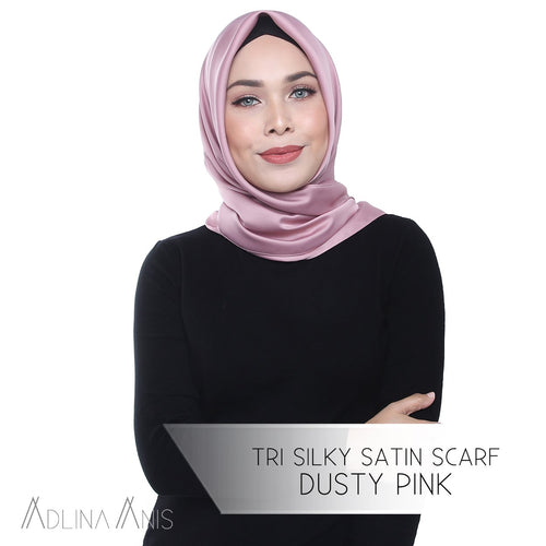 Tri Silky Satin Scarf - Dusty Pink - Tri scarves - Adlina Anis - Third Culture Boutique