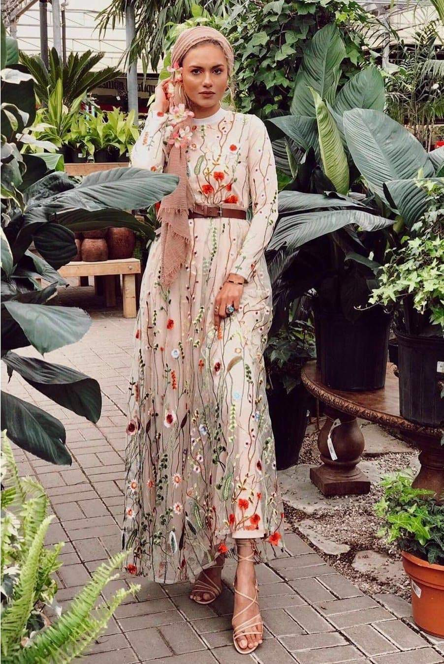 PRE-ORDER: Floral Embroidered Tulle Evening Dress - Nude - Dresses - Niswa Fashion - Third Culture Boutique