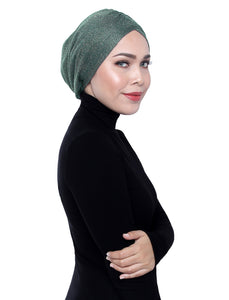 Gold Knit Turban - HEDGE GREEN