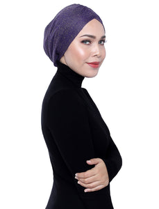Gold Knit Turban - VIOLET