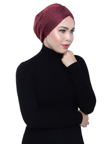 Gold Knit Turban - RHUBARB RED