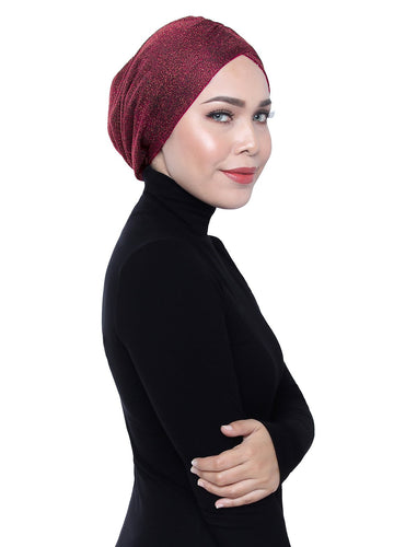 Gold Knit Turban - RED