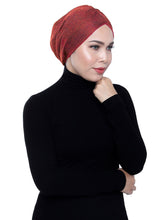 Load image into Gallery viewer, Gold Knit Turban - SPICY ORANGE