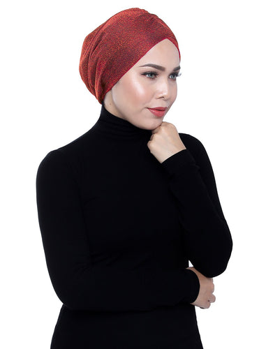 Gold Knit Turban - SPICY ORANGE