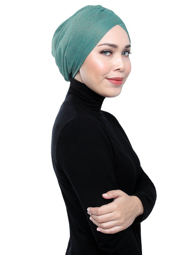 Gold Knit Turban - TEAL BLUE