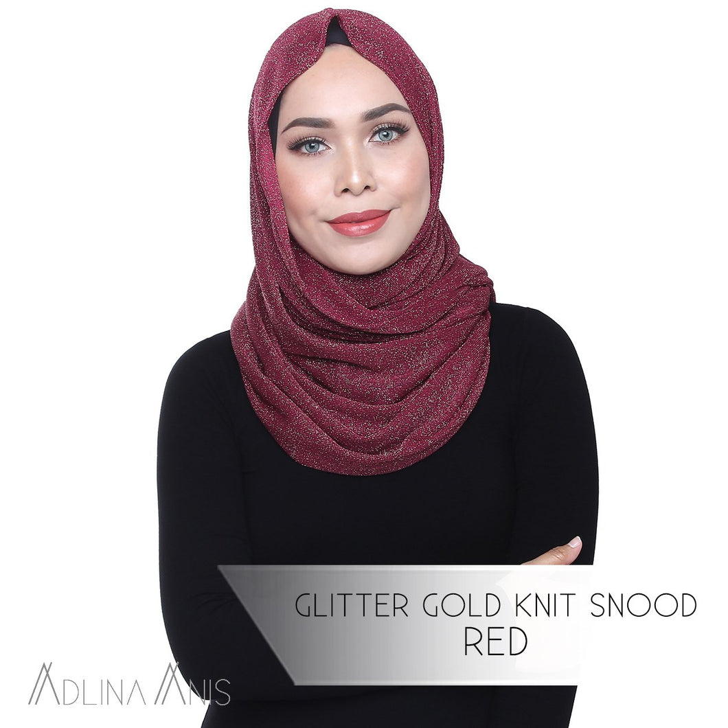 Glitter Gold Knit Snood - Red - Third Culture Boutique