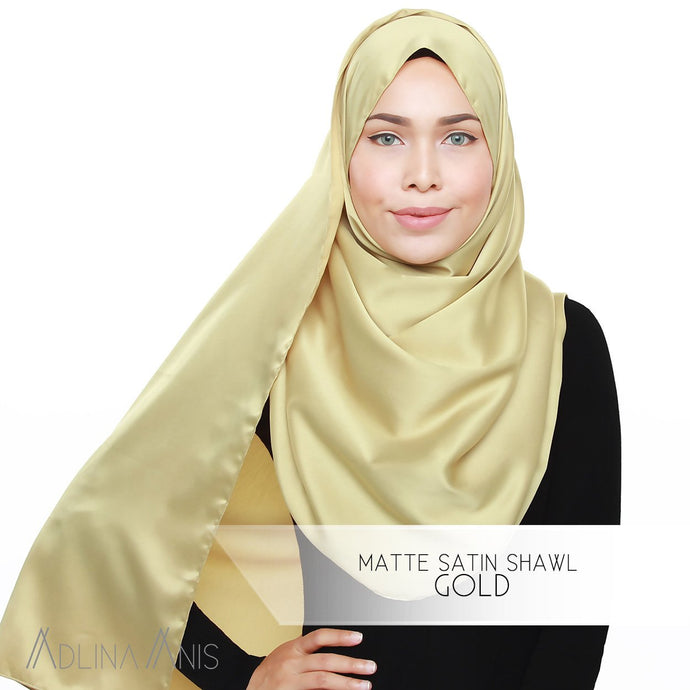 Matte Satin Shawl - Gold - Satin - Adlina Anis - Third Culture Boutique