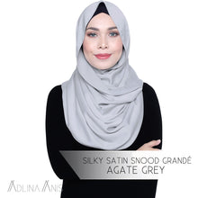 Load image into Gallery viewer, Silky Satin Snood Grande - Agate Grey - Third Culture Boutique