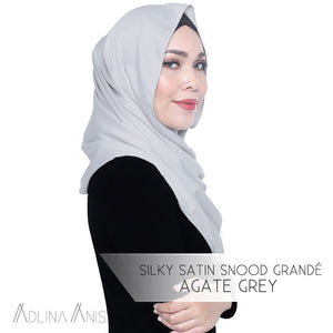 Silky Satin Snood Grande - Agate Grey - Third Culture Boutique