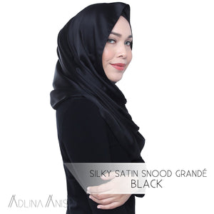 Silky Satin Snood Grande - Black - Third Culture Boutique