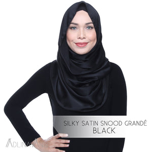 Silky Satin Snood Grande - Black - Snoods Grande - Adlina Anis - Third Culture Boutique