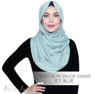 Silky Satin Snood Grande - Icy Blue - Third Culture Boutique