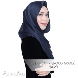 Silky Satin Snood Grande - Navy - Snoods Grande - Adlina Anis - Third Culture Boutique