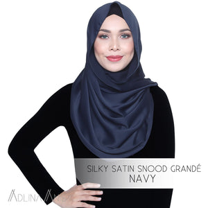 Silky Satin Snood Grande - Navy - Third Culture Boutique