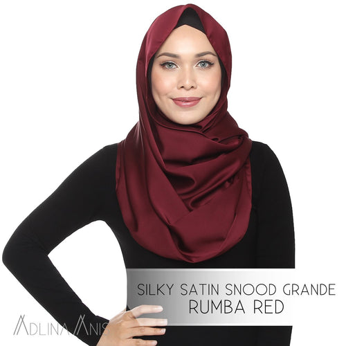 Silky Satin Snood Grande - Rumba Red - Third Culture Boutique