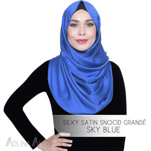 Silky Satin Snood Grande - Sky Blue - Third Culture Boutique