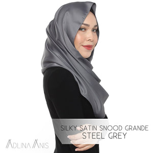 Silky Satin Snood Grande - Steel Grey - Third Culture Boutique