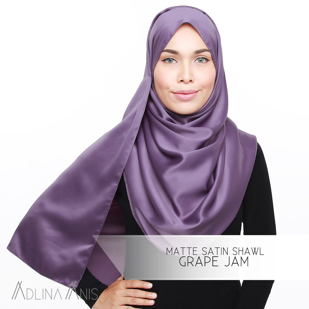 Matte Satin Shawl - Grape Jam - Satin - Adlina Anis - Third Culture Boutique