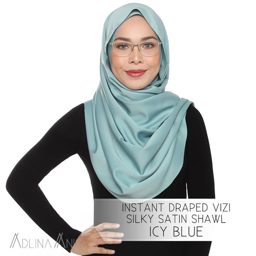 Instant Draped VIZI Silky Satin Shawl - Icy Blue - Third Culture Boutique