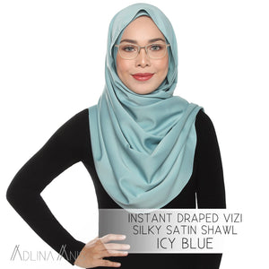 Instant Draped VIZI Silky Satin Shawl - Icy Blue - vizi - Adlina Anis - Third Culture Boutique