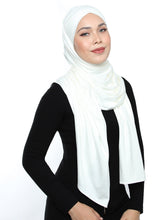 Load image into Gallery viewer, Lux Turban Jersey Shawl - White