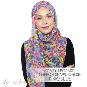 Crazy Leopard Chiffon Shawl Onesie - Pink/Blue - Instant Hijabs - Adlina Anis - Third Culture Boutique