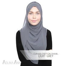 Load image into Gallery viewer, Curved Chiffon Shawl - Light Grey - Premium Chiffon - Adlina Anis - Third Culture Boutique
