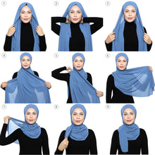 Load image into Gallery viewer, Lux Square Chiffon Shawl - Moonlight Blue