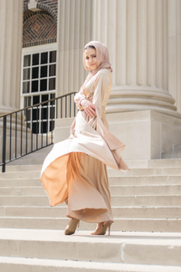 Modest Satin Dress - Gold Champagne - Dresses - Niswa Fashion - Third Culture Boutique