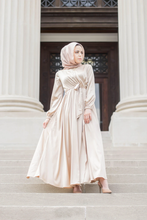 Load image into Gallery viewer, Modest Satin Dress - Gold Champagne - Dresses - Niswa Fashion - Third Culture Boutique