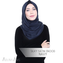 Load image into Gallery viewer, Silky Satin Snood - Navy - Snoods - Adlina Anis - Third Culture Boutique