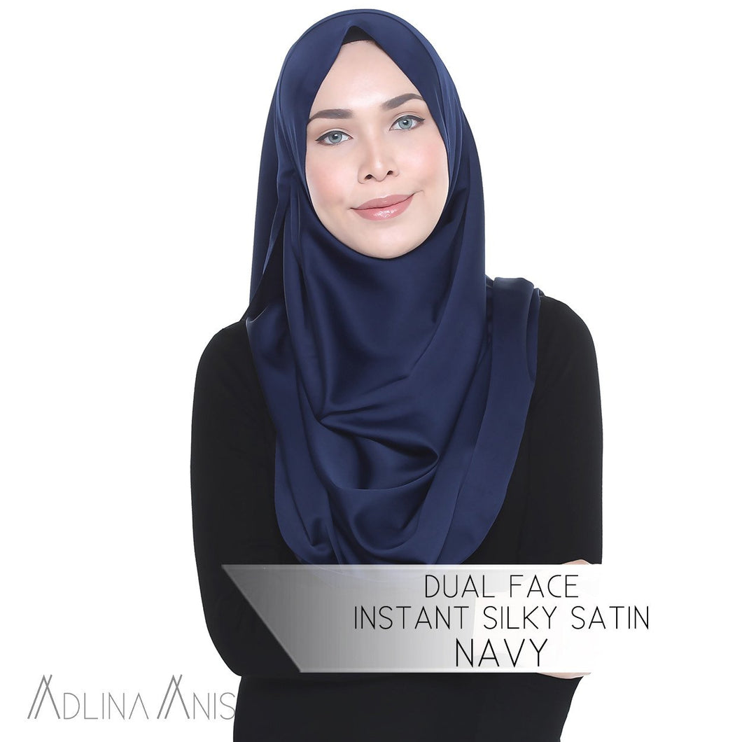 Dual Face Instant Silky Satin Shawl - Navy - Instant Hijabs - Adlina Anis - Third Culture Boutique