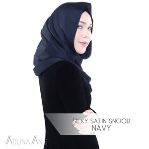 Silky Satin Snood - Navy - Snoods - Adlina Anis - Third Culture Boutique