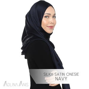 Silky Satin Onesie - Navy - Instant Hijabs - Adlina Anis - Third Culture Boutique