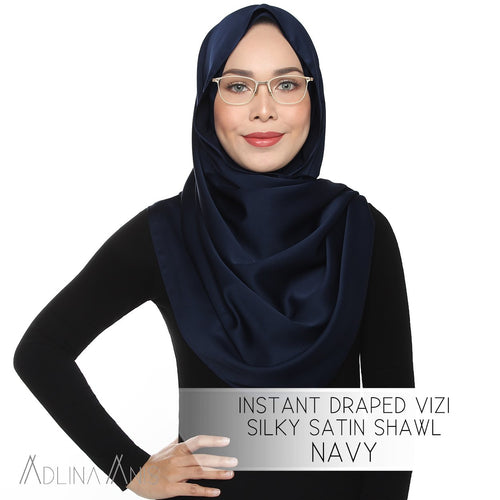 Instant Draped VIZI Silky Satin Shawl - Navy - Third Culture Boutique