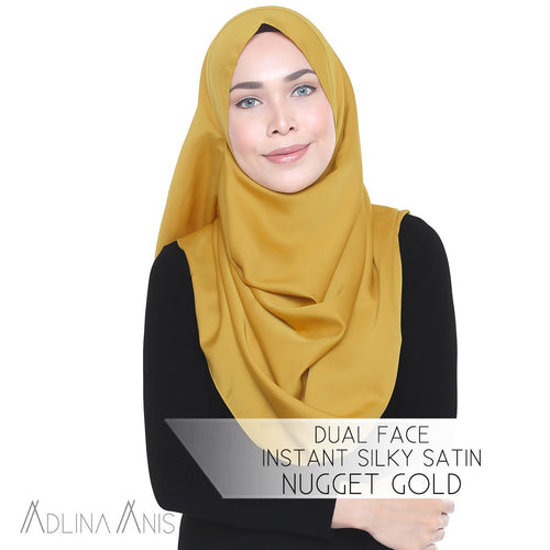Dual Face Instant Silky Satin Shawl - Nugget Gold - Instant Hijabs - Adlina Anis - Third Culture Boutique