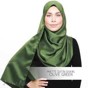Matte Satin Shawl - Olive Green - Satin - Adlina Anis - Third Culture Boutique