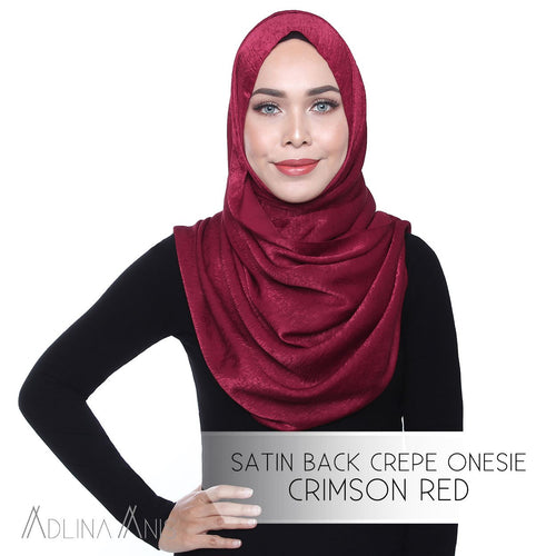 Satin Back Crepe Onesie - Crimson Red - Instant Hijabs - Adlina Anis - Third Culture Boutique