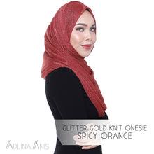 Load image into Gallery viewer, Glitter Gold Knit Onesie - Spicy Orange - Instant Hijabs - Adlina Anis - Third Culture Boutique