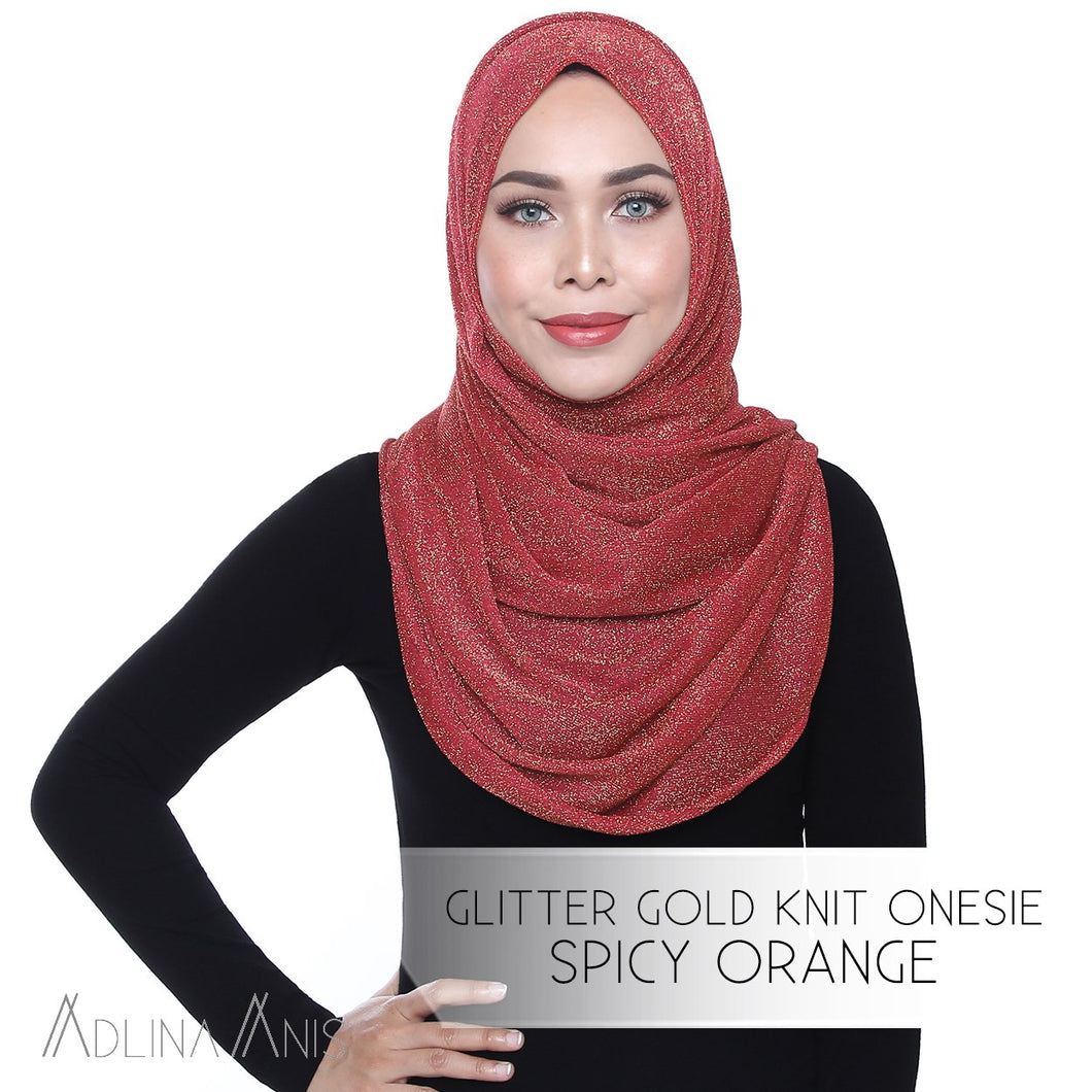 Glitter Gold Knit Onesie - Spicy Orange - Instant Hijabs - Adlina Anis - Third Culture Boutique