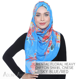 Oriental Floral Heavy Chiffon Shawl Onesie - Sky Blue/Red - Instant Hijabs - Adlina Anis - Third Culture Boutique